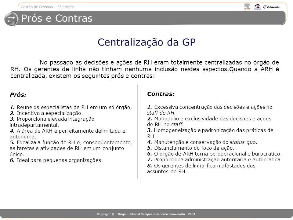Prós e Contras Centralização da GP