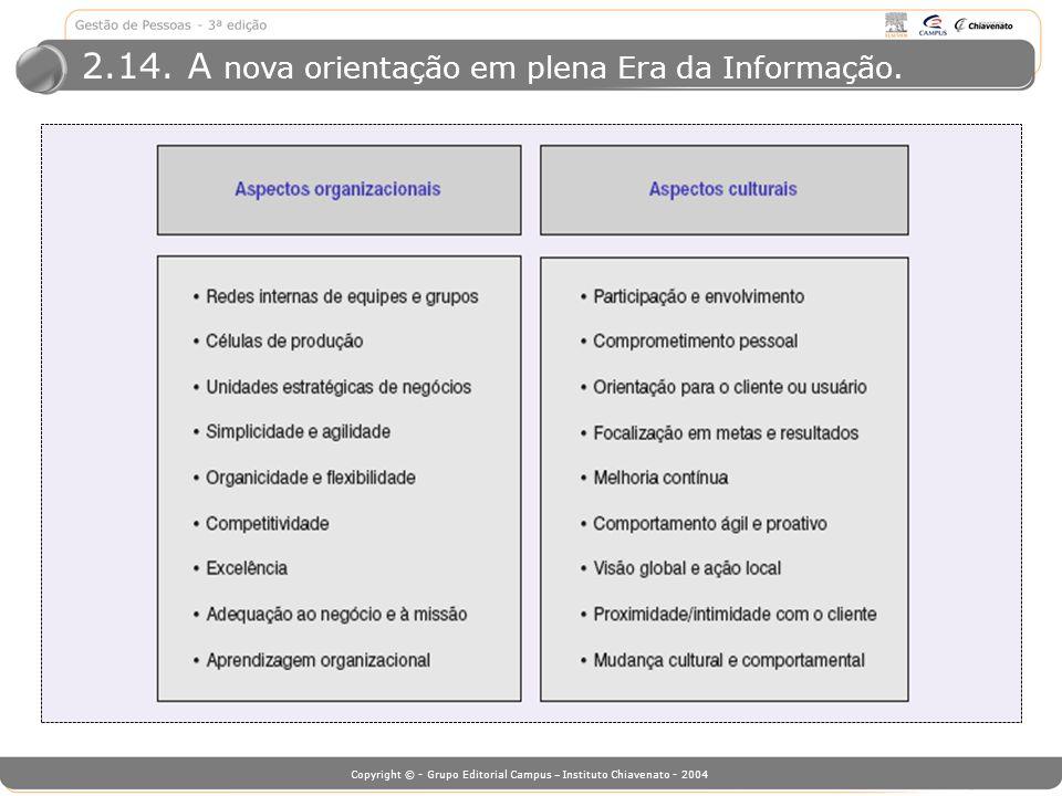 2.14. A nova orientação em plena Era da Informação.