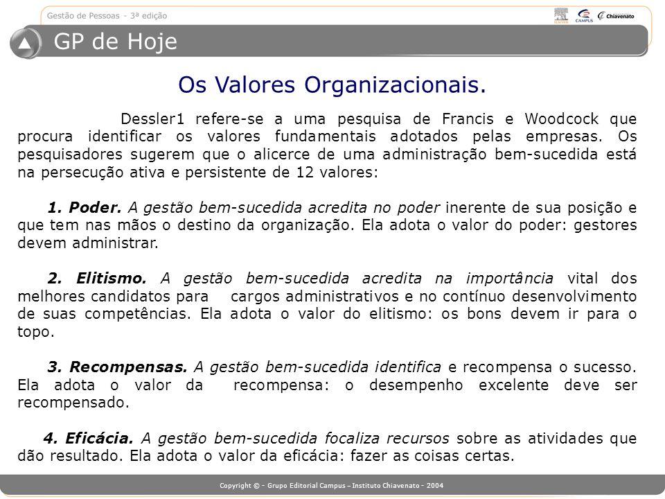 Os Valores Organizacionais.