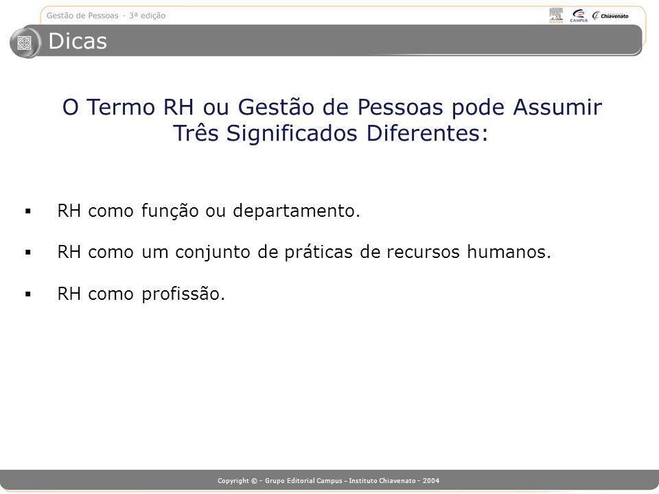 Dicas O Termo RH ou Gestão de Pessoas pode Assumir Três Significados Diferentes: RH como função ou departamento.