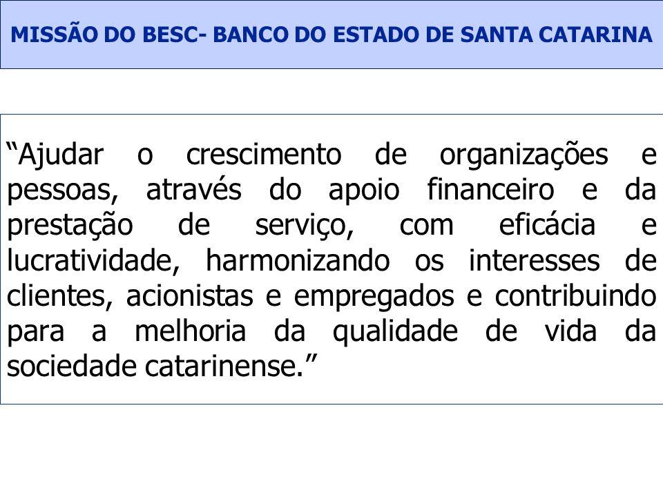 MISSÃO DO BESC- BANCO DO ESTADO DE SANTA CATARINA
