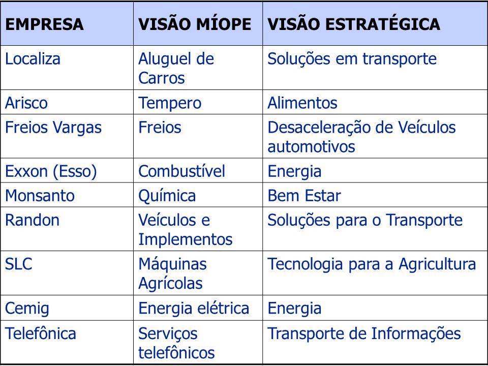 EMPRESAVISÃO MÍOPE. VISÃO ESTRATÉGICA. Localiza. Aluguel de Carros. Soluções em transporte. Arisco.