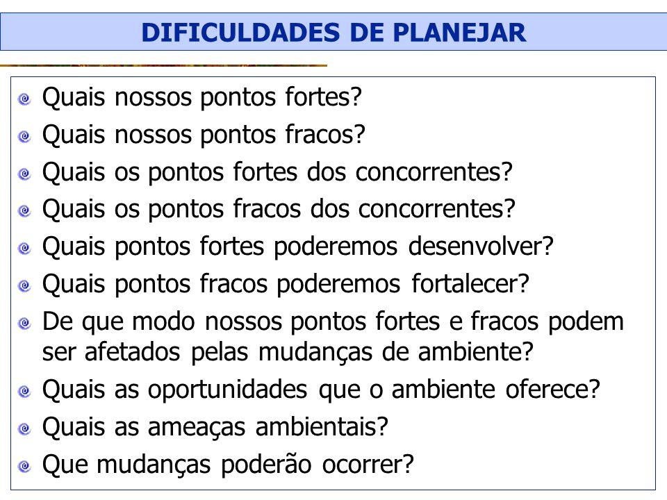 DIFICULDADES DE PLANEJAR