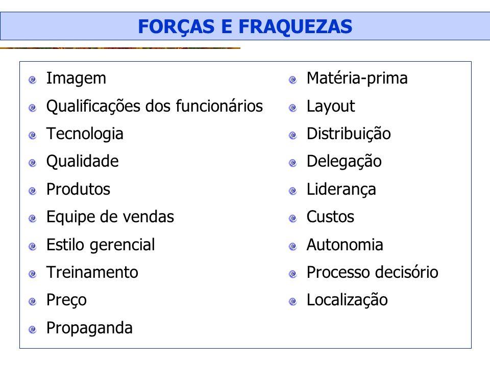 FORÇAS E FRAQUEZAS Imagem Qualificações dos funcionários Tecnologia