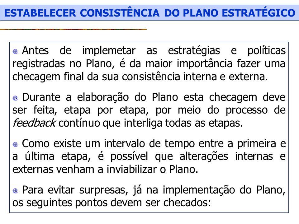 ESTABELECER CONSISTÊNCIA DO PLANO ESTRATÉGICO
