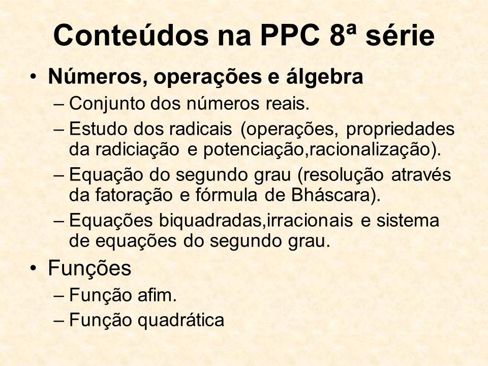 Conteúdos na PPC 8ª série
