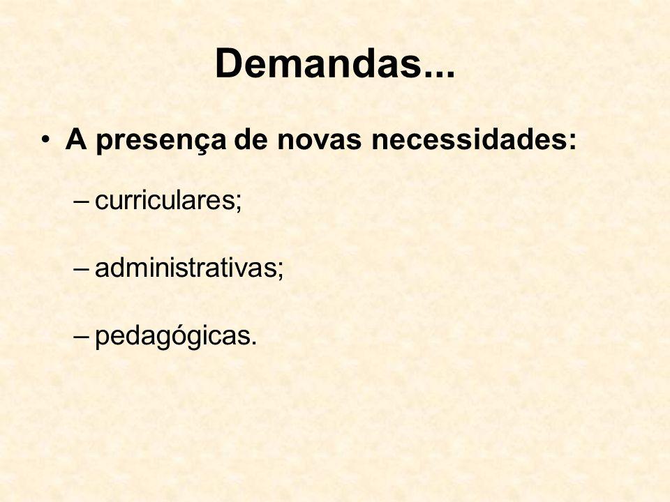 Demandas... A presença de novas necessidades: curriculares;