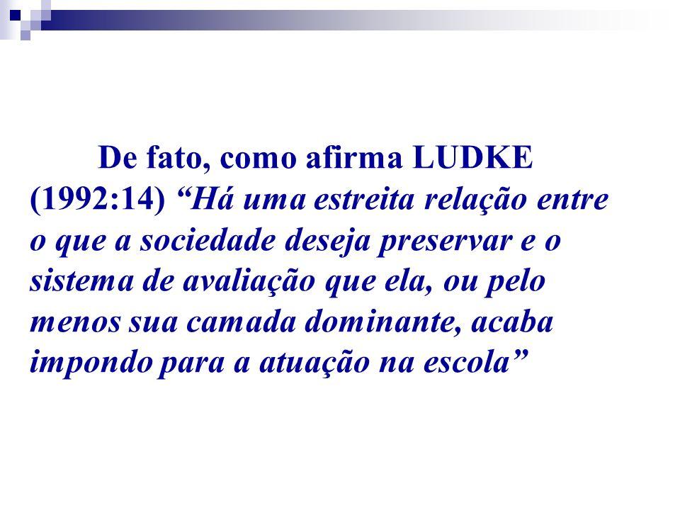 De fato, como afirma LUDKE (1992:14) Há uma estreita relação entre o que a sociedade deseja preservar e o sistema de avaliação que ela, ou pelo menos sua camada dominante, acaba impondo para a atuação na escola