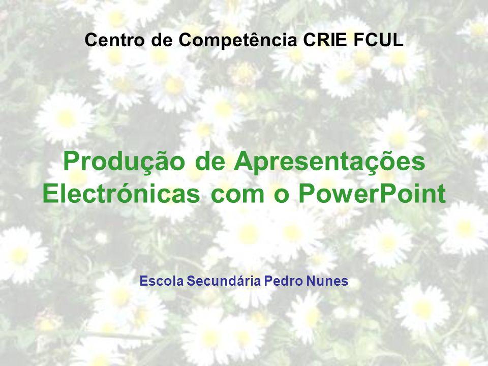 Produção de Apresentações Electrónicas com o PowerPoint
