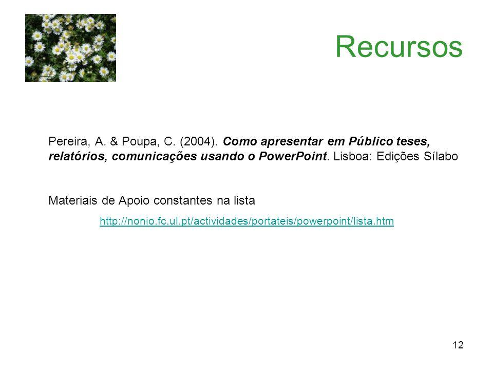 Recursos Pereira, A. & Poupa, C. (2004). Como apresentar em Público teses, relatórios, comunicações usando o PowerPoint. Lisboa: Edições Sílabo.