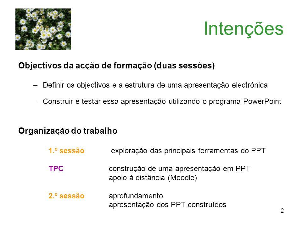 Intenções Objectivos da acção de formação (duas sessões)