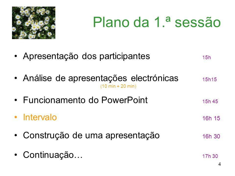 Plano da 1.ª sessão Apresentação dos participantes 15h
