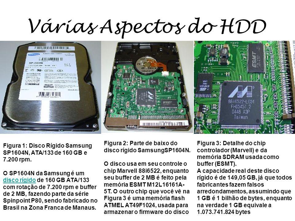 Várias Aspectos do HDD Figura 2: Parte de baixo do disco rígido SamsungSP1604N.