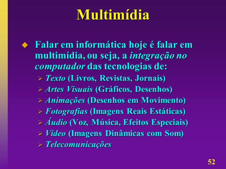 Multimídia Falar em informática hoje é falar em multimídia, ou seja, a integração no computador das tecnologias de: