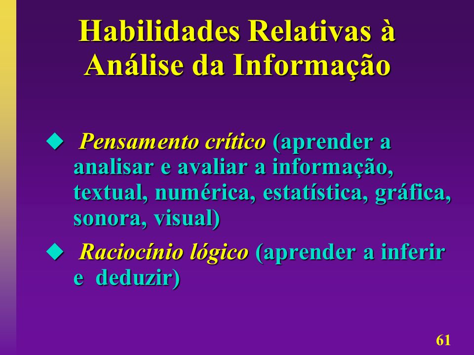 Habilidades Relativas à Análise da Informação