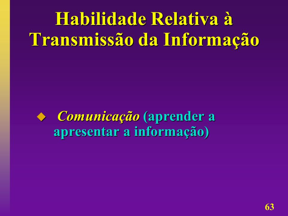 Habilidade Relativa à Transmissão da Informação