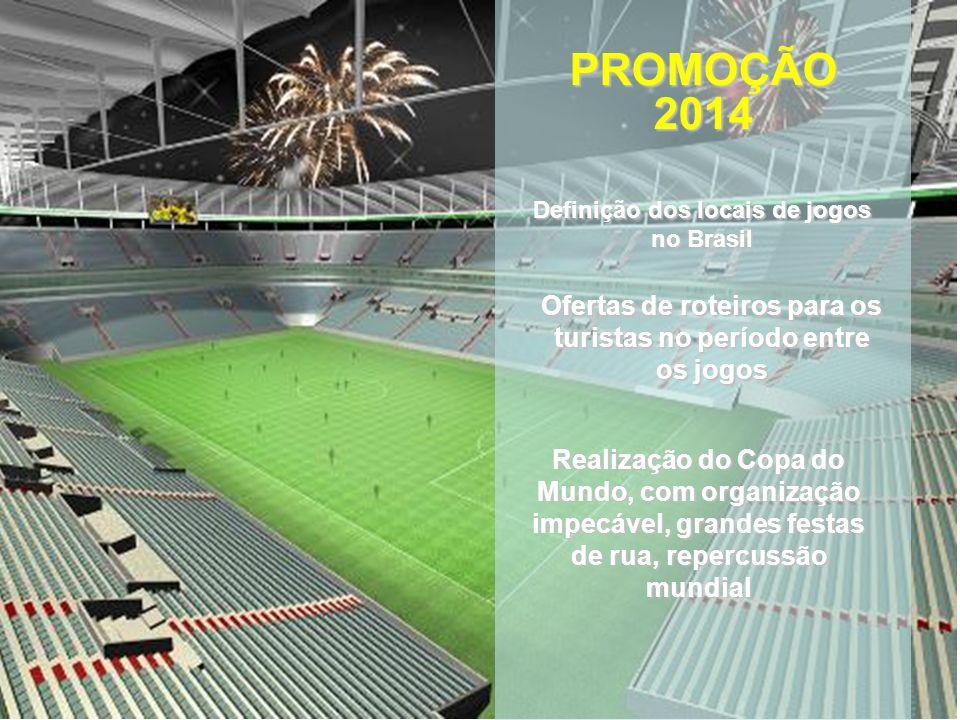 PROMOÇÃO 2014. Definição dos locais de jogos no Brasil. Ofertas de roteiros para os turistas no período entre os jogos.
