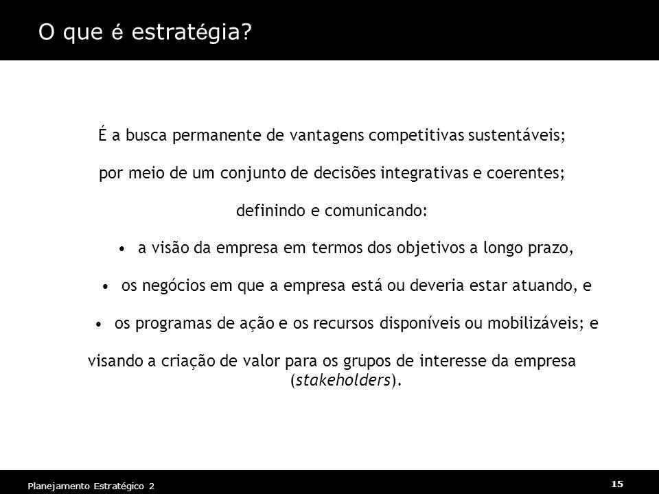 O que é estratégia É a busca permanente de vantagens competitivas sustentáveis; por meio de um conjunto de decisões integrativas e coerentes;