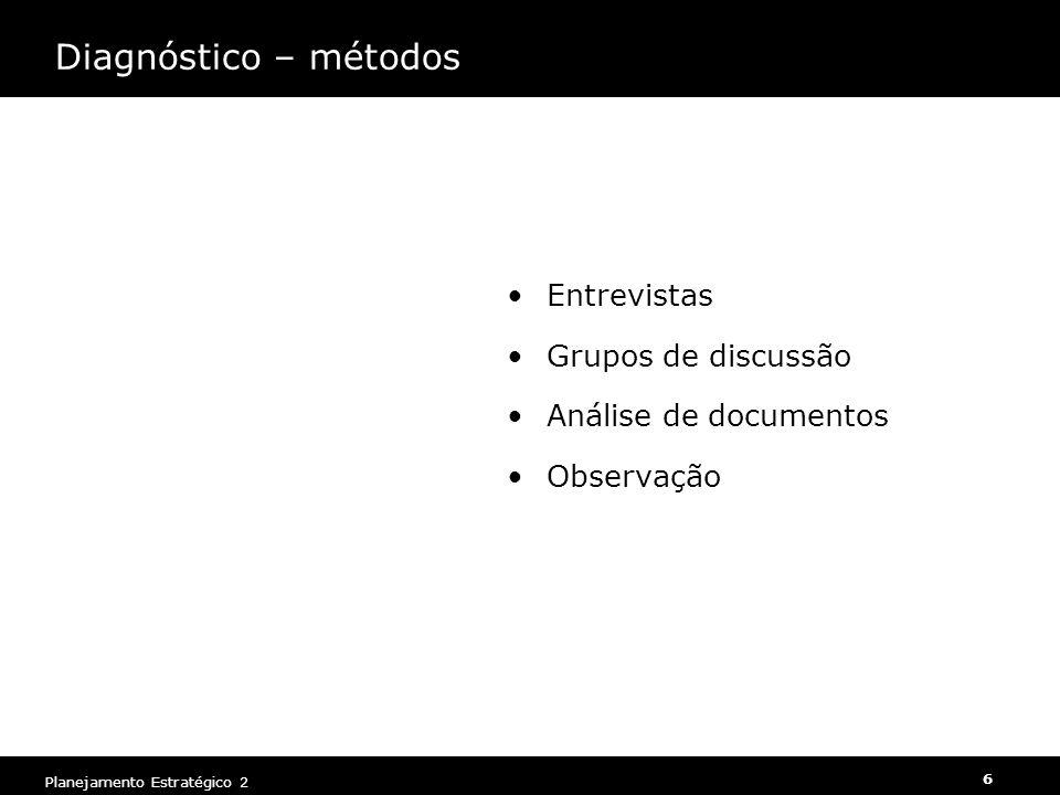 Diagnóstico – métodos Entrevistas Grupos de discussão