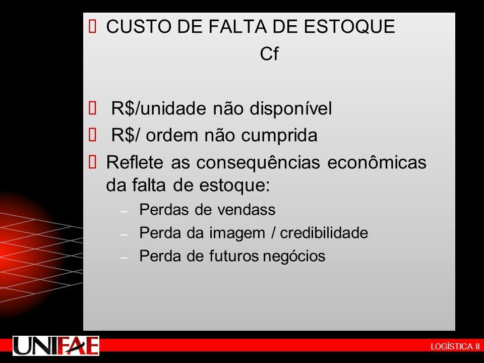 CUSTO DE FALTA DE ESTOQUE Cf R$/unidade não disponível