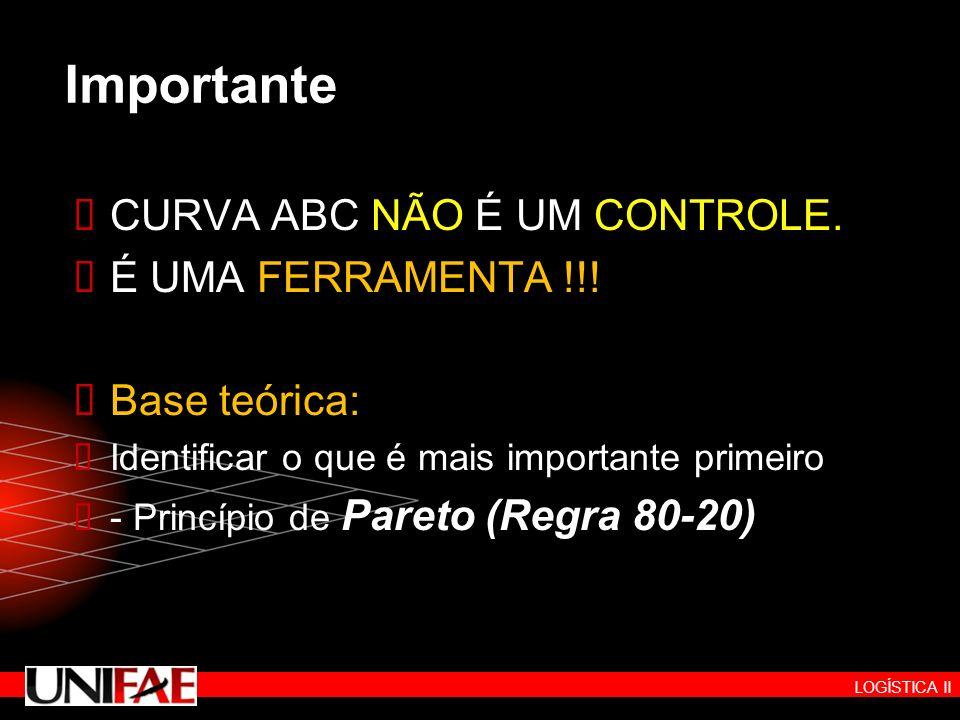 Importante CURVA ABC NÃO É UM CONTROLE. É UMA FERRAMENTA !!!