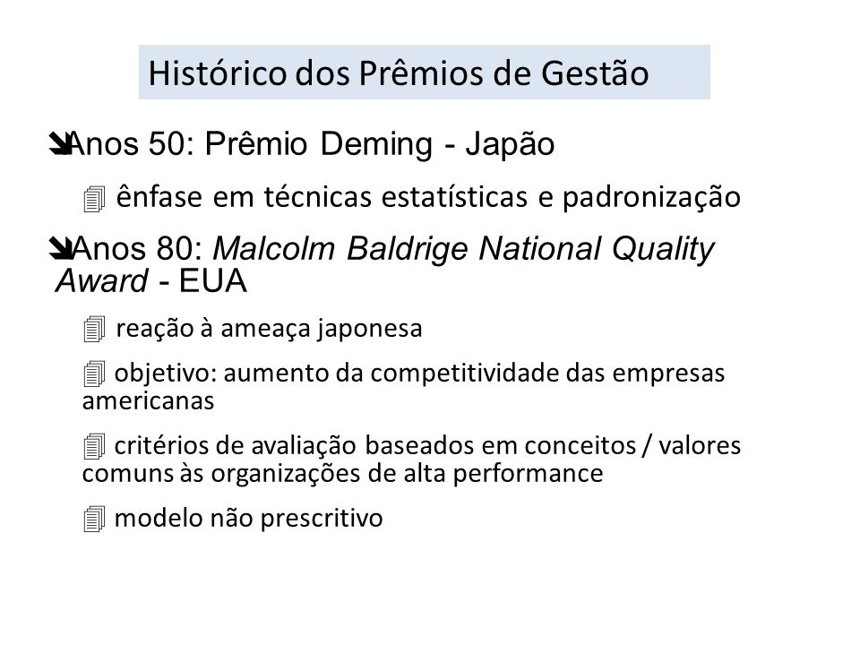 Histórico dos Prêmios de Gestão