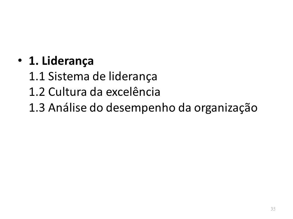 1. Liderança 1. 1 Sistema de liderança 1. 2 Cultura da excelência 1