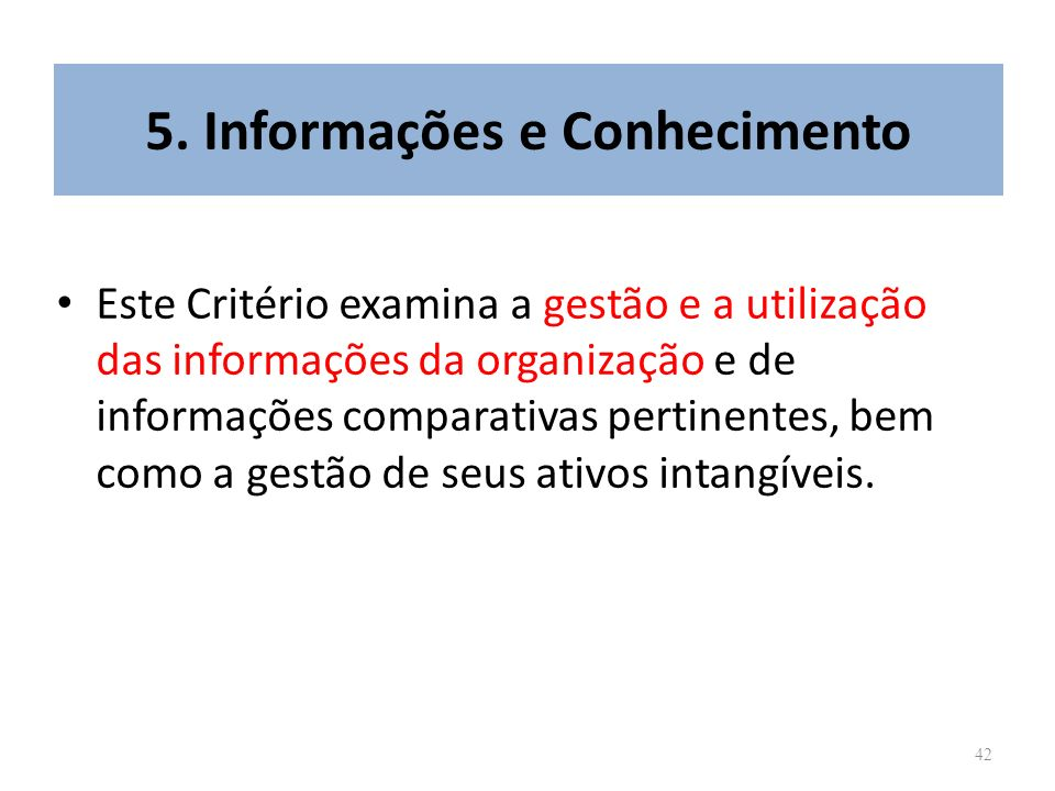 5. Informações e Conhecimento
