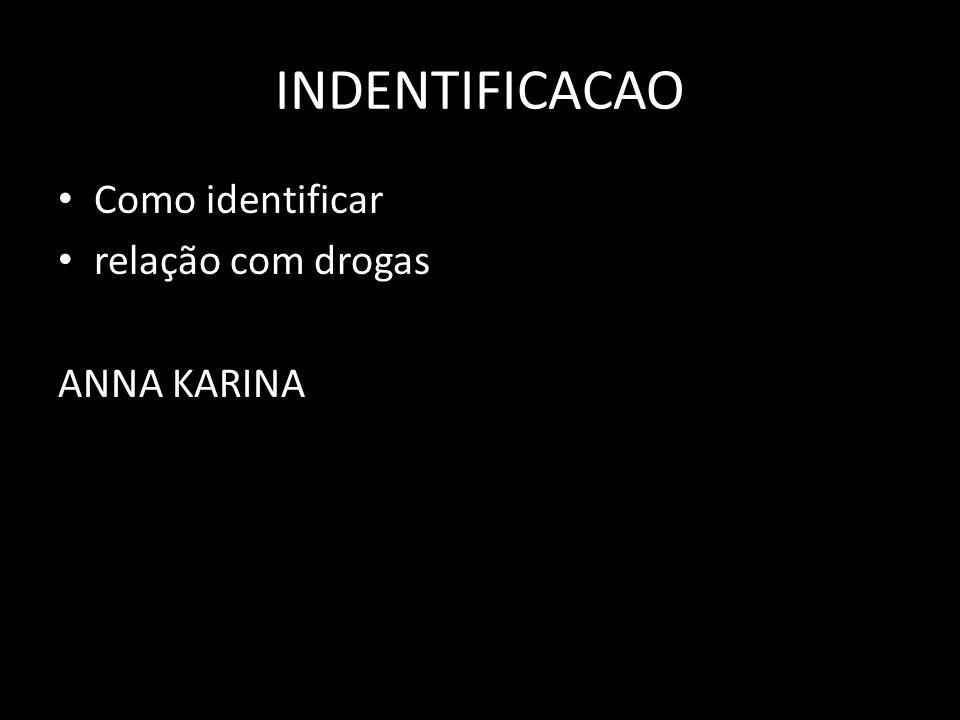 INDENTIFICACAO Como identificar relação com drogas ANNA KARINA