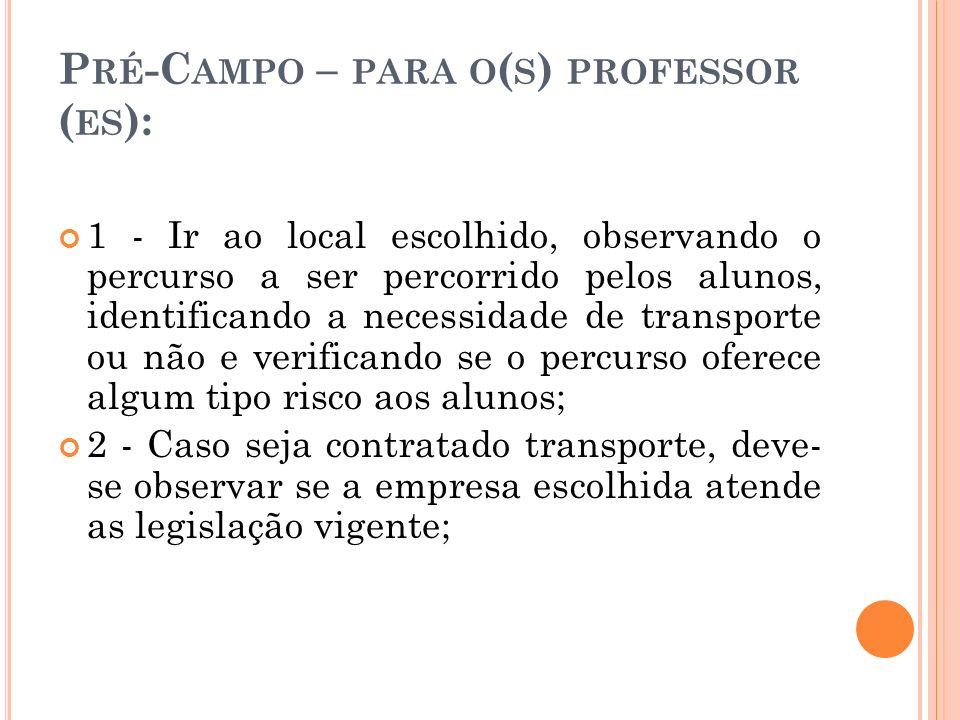 Pré-Campo – para o(s) professor (es):