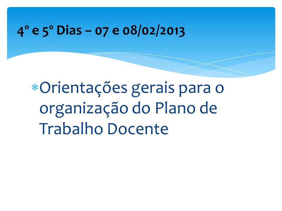 Orientações gerais para o organização do Plano de Trabalho Docente