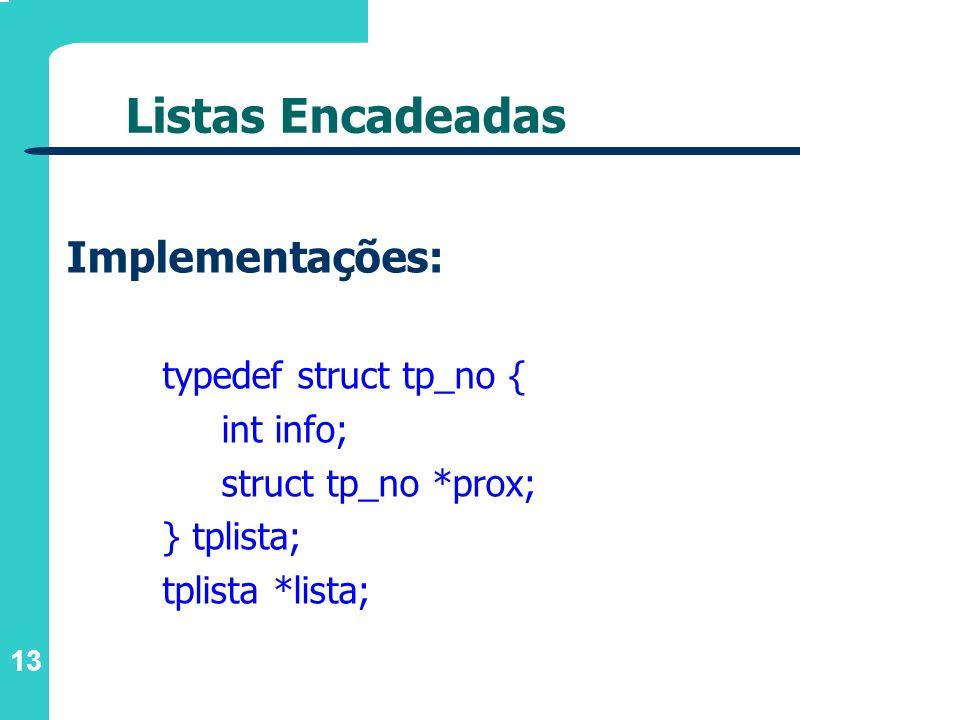 Listas Encadeadas Implementações: typedef struct tp_no { int info;