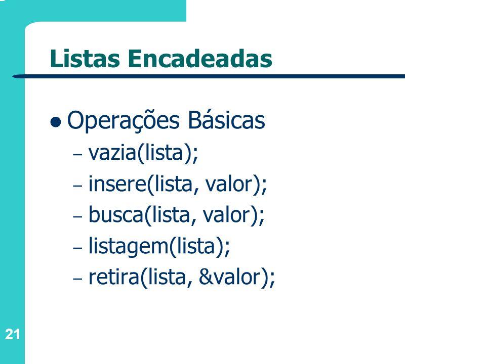 Listas Encadeadas Operações Básicas vazia(lista);