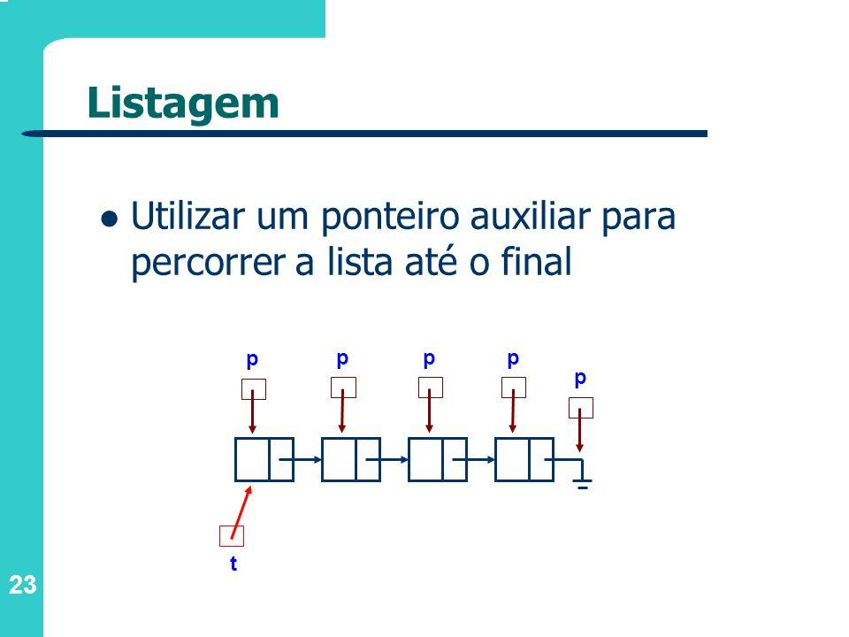 Listagem Utilizar um ponteiro auxiliar para percorrer a lista até o final p p p p p t