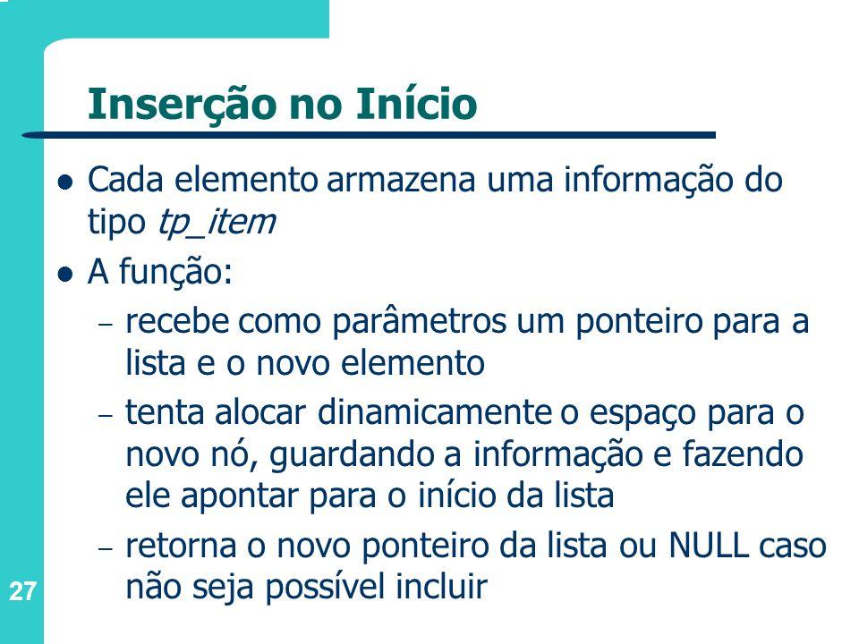 Inserção no Início Cada elemento armazena uma informação do tipo tp_item. A função: