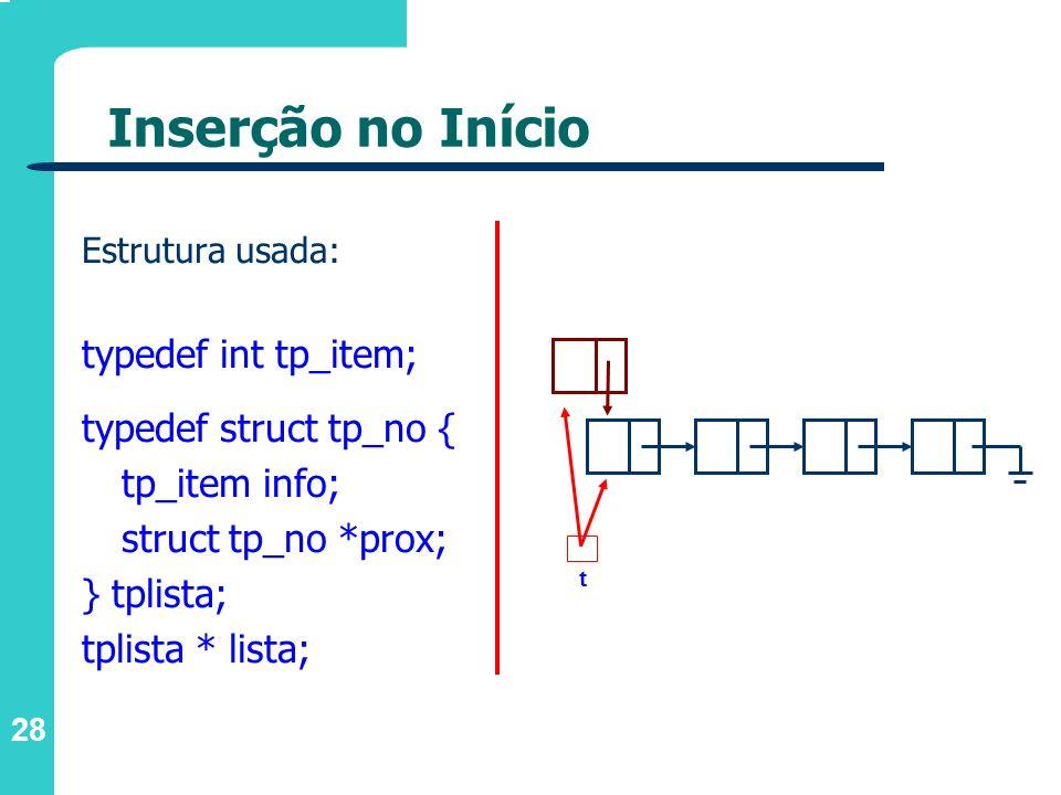 Inserção no Início typedef int tp_item; typedef struct tp_no {