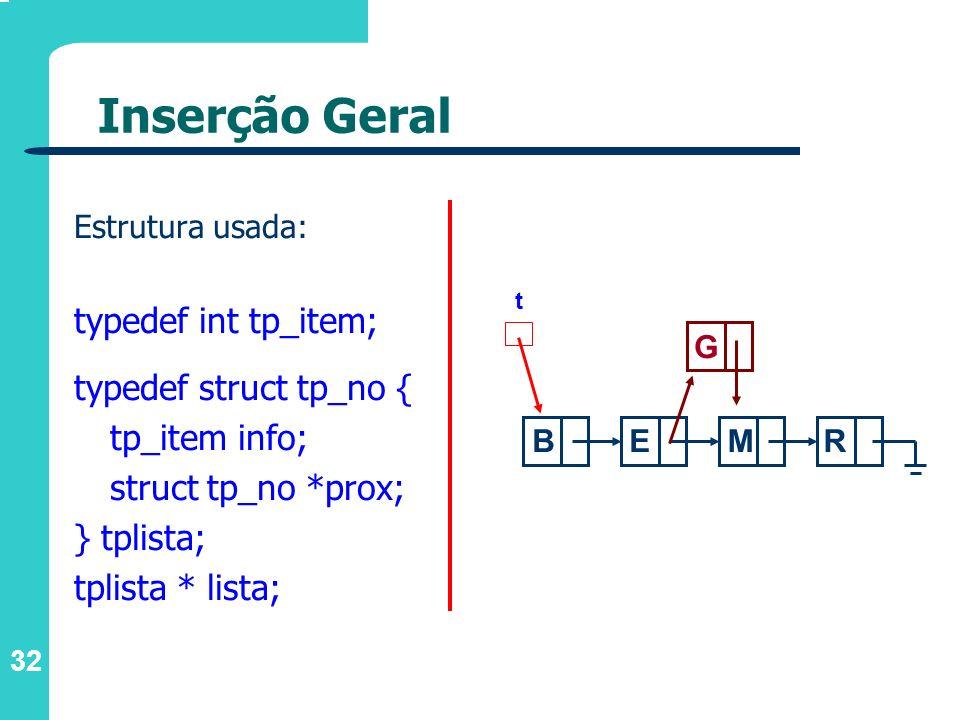 Inserção Geral typedef int tp_item; typedef struct tp_no {