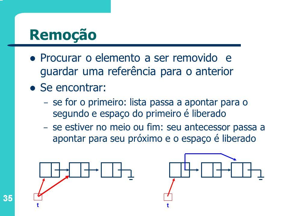 Remoção Procurar o elemento a ser removido e guardar uma referência para o anterior. Se encontrar: