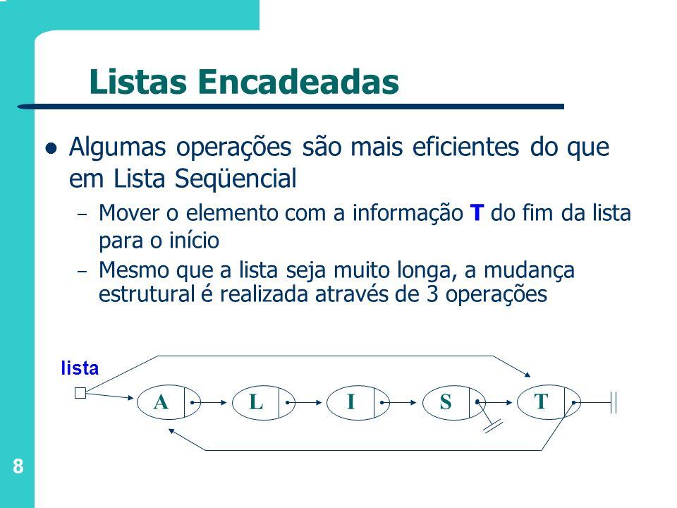 Listas Encadeadas Algumas operações são mais eficientes do que em Lista Seqüencial.
