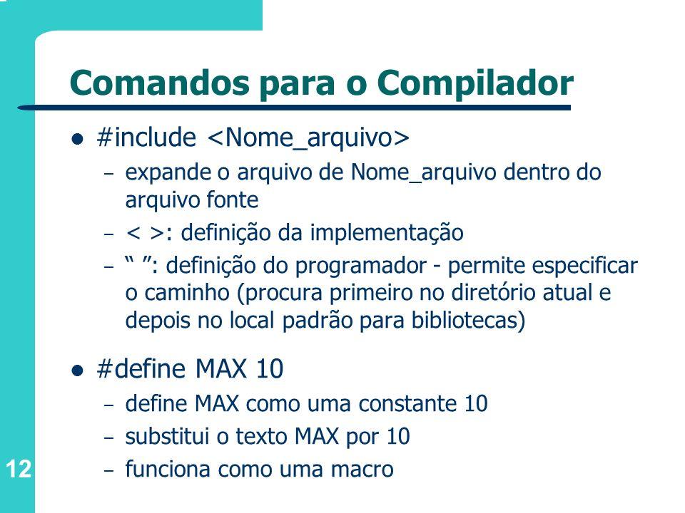 Comandos para o Compilador