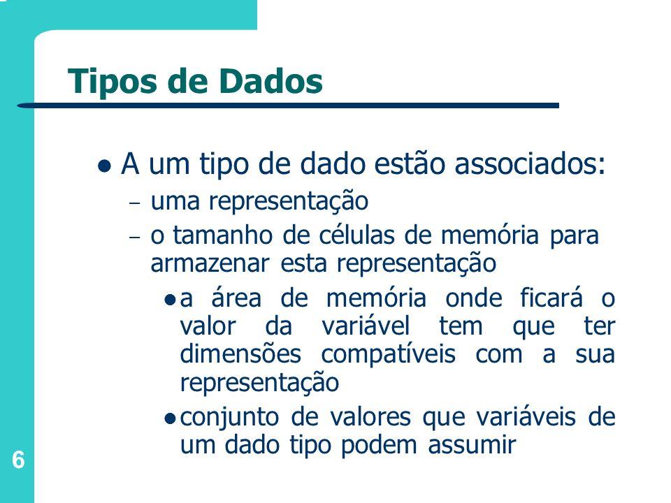Tipos de Dados A um tipo de dado estão associados: uma representação