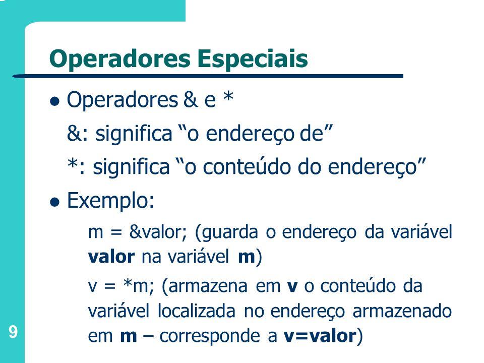 Operadores Especiais Operadores & e * &: significa o endereço de