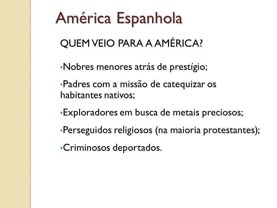 América Espanhola QUEM VEIO PARA A AMÉRICA