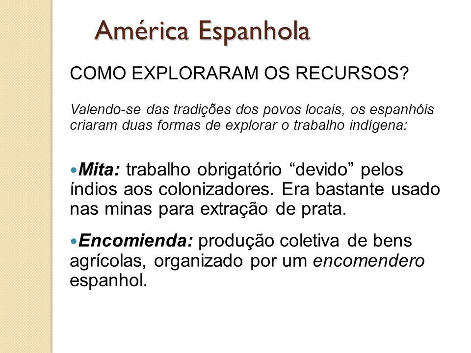 América Espanhola COMO EXPLORARAM OS RECURSOS