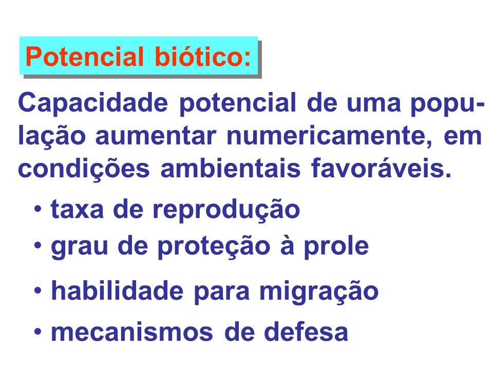 Potencial biótico: Capacidade potencial de uma popu- lação aumentar numericamente, em. condições ambientais favoráveis.