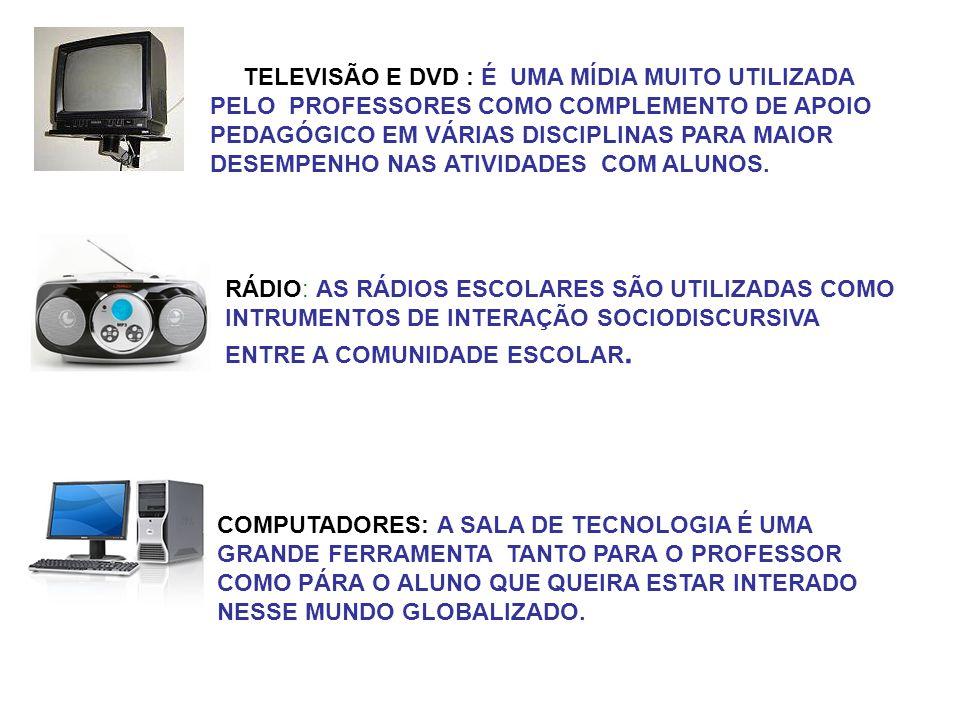 TELEVISÃO E DVD : É UMA MÍDIA MUITO UTILIZADA PELO PROFESSORES COMO COMPLEMENTO DE APOIO PEDAGÓGICO EM VÁRIAS DISCIPLINAS PARA MAIOR DESEMPENHO NAS ATIVIDADES COM ALUNOS.