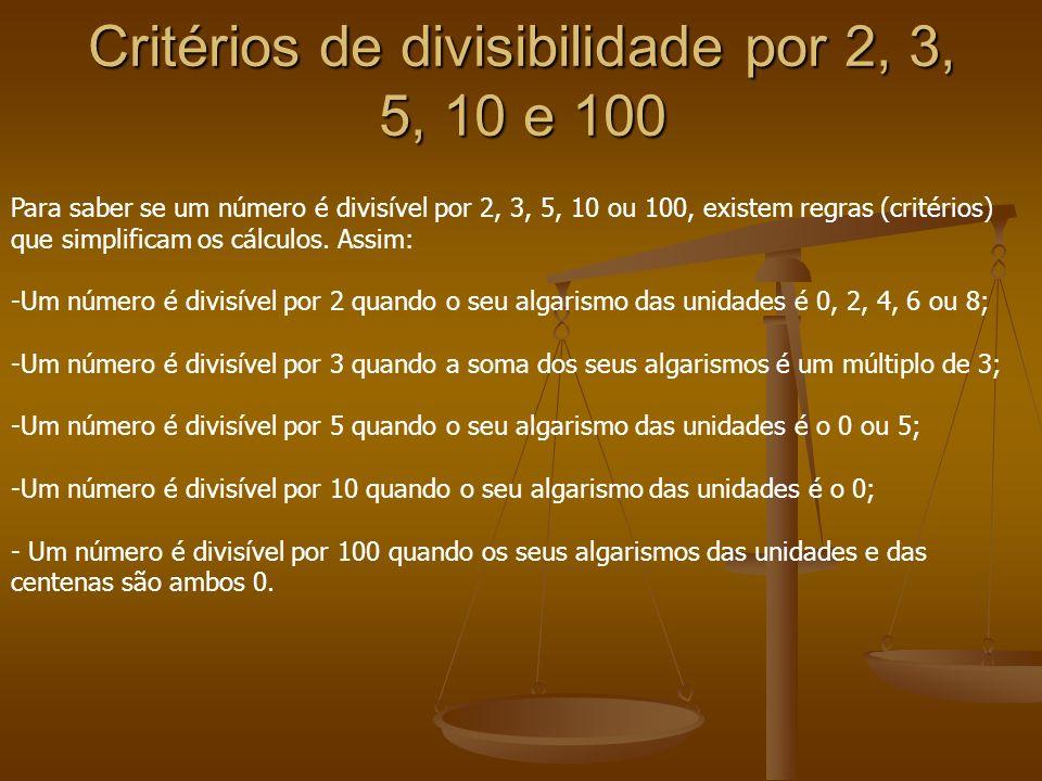 Critérios de divisibilidade por 2, 3, 5, 10 e 100