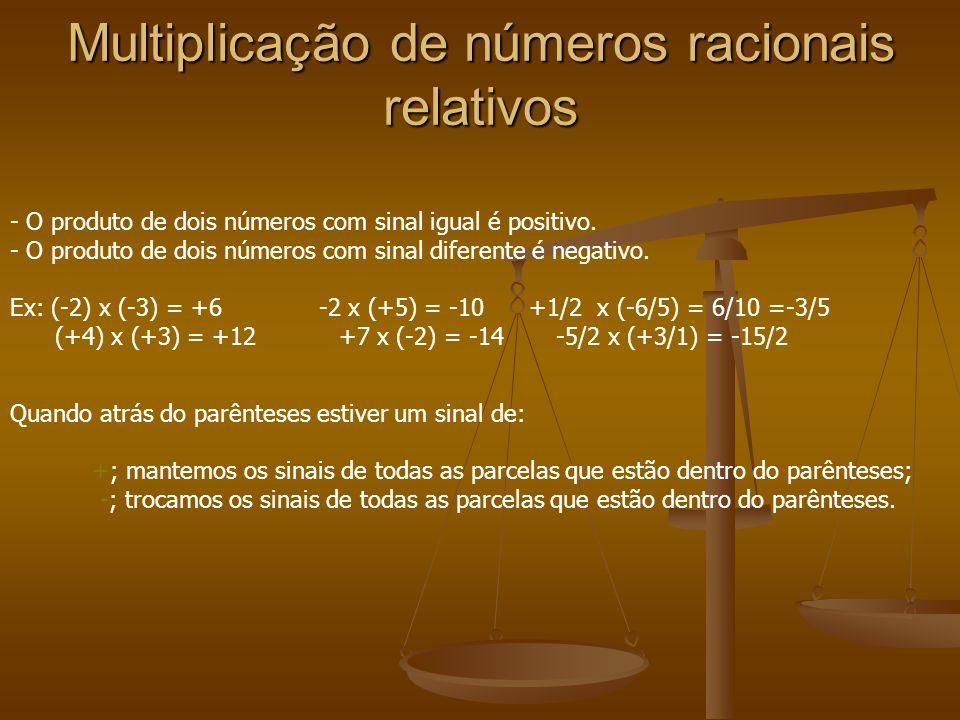 Multiplicação de números racionais relativos