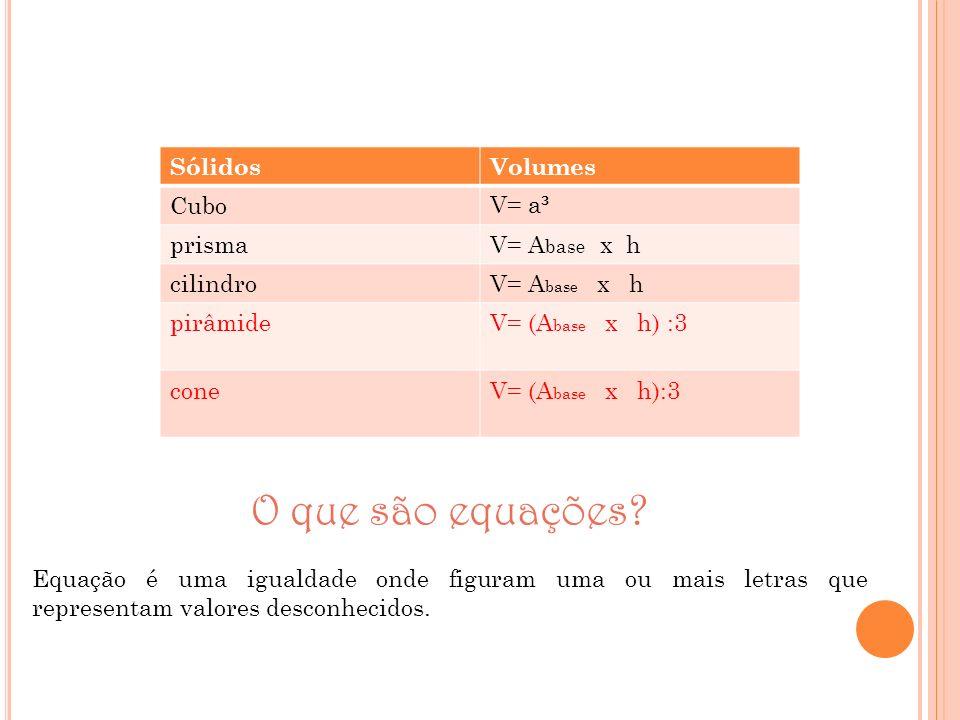 O que são equações Sólidos Volumes Cubo V= a³ prisma V= Abase x h