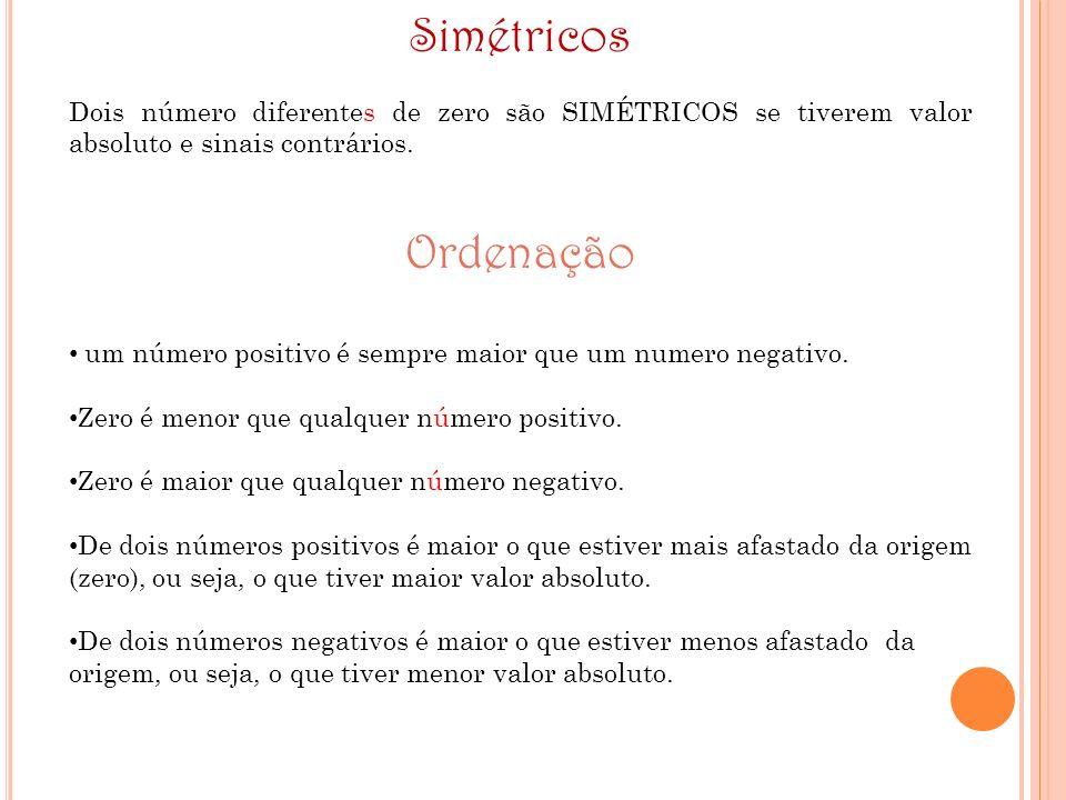 SimétricosDois número diferentes de zero são SIMÉTRICOS se tiverem valor absoluto e sinais contrários.